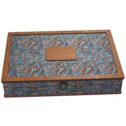 Luxury Wooden Tea Bag Box, Termeh Design