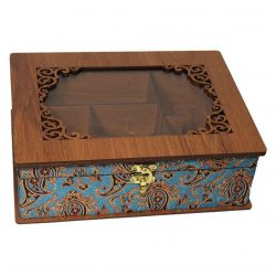 Luxury Wooden Tea Bag Box, Termeh Design LBL55