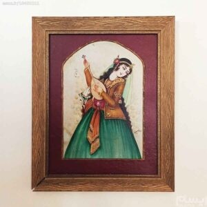 Persian Miniature Hand Painting, Khatoon (Natural Goat leather)