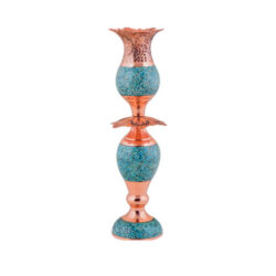 Turquoise Inlaid Persian Copper Candlestick F047