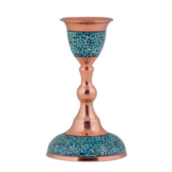 Turquoise Inlaid Persian Copper Candlestick F026