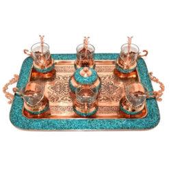Turquoise Inlaid Copper Tea Coffee Set 020