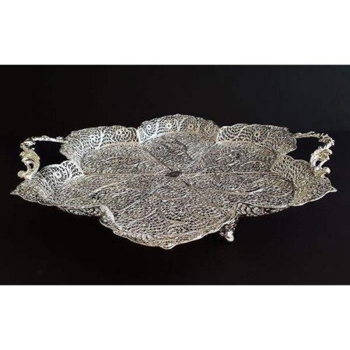 Filigree Silver Tray Bowl Dish Round 6