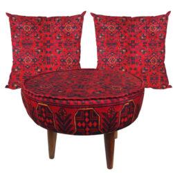Persian Footstool Pouf Kilim Design & Cushion FA1