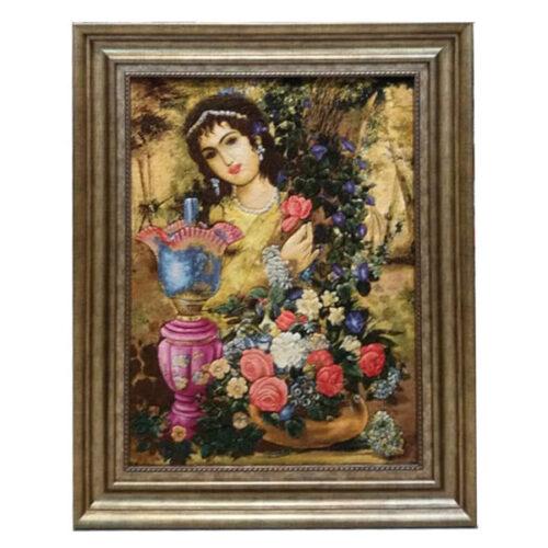 Handmade Pictorial Persian Tableau Rug - Qajar Girl