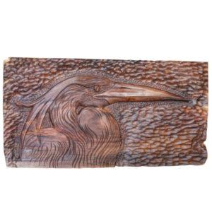 Wooden Carved Monabat Kari Tableau - Pelican