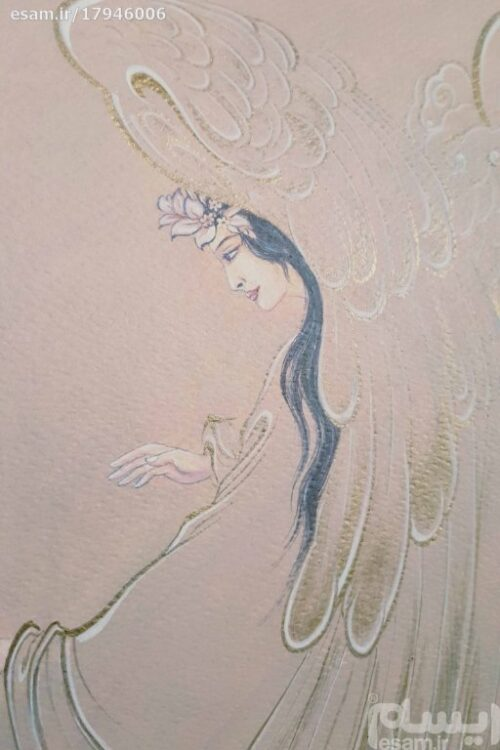 Persian Miniature Hand Painting, Angel callers