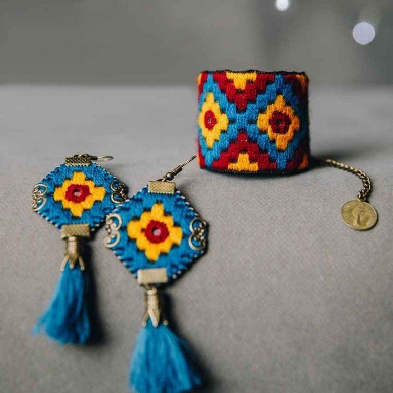 Embroidery Suzani Set of Bracelet & Earrings 16