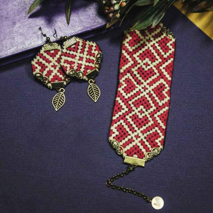 Embroidery Suzani Set of Earrings & Bracelet