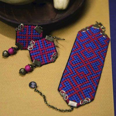 Embroidery Suzani Set of Earrings & Bracelet 19