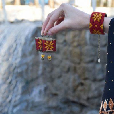 Embroidery Suzani Set of Earrings & Bracelet Hori