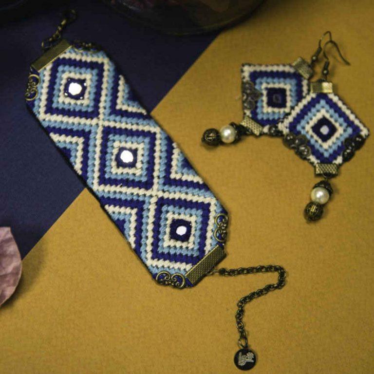 Embroidery Suzani Set of Earrings & Bracelet Atra