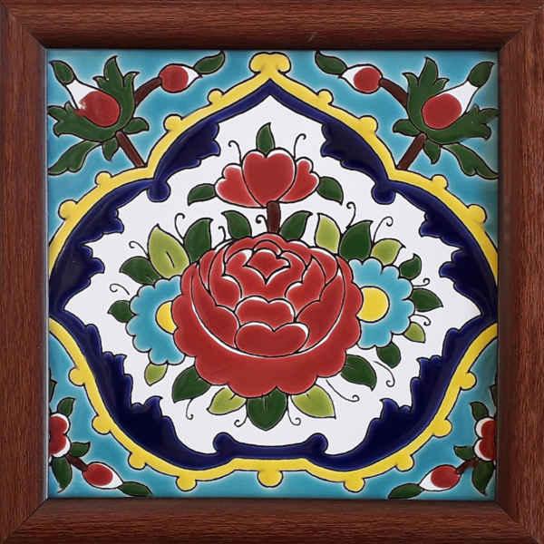 Persian Ceramic Tile Frame Flower