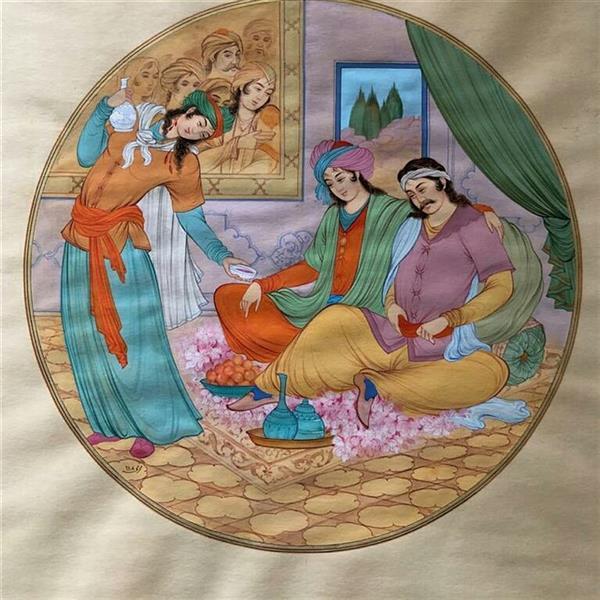 Persian Miniature Painting - Drinking wine