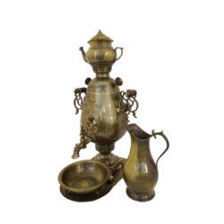 Set Of 5 Persian Coal Brass Samovar Model Jam
