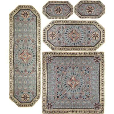 Set Of 5 Persian Silk Termeh Tablecloth Kahkeshan