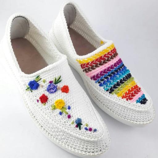 Iranian Handmade Silk Giveh Shoes Model Flower