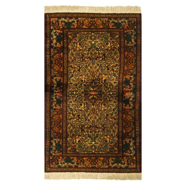 Handmade Persian Silk Carpet Toranj Model Jangal