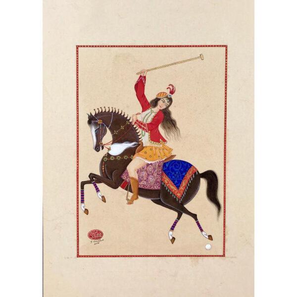 Persian Qajar Girl Hand Painted Miniature Art