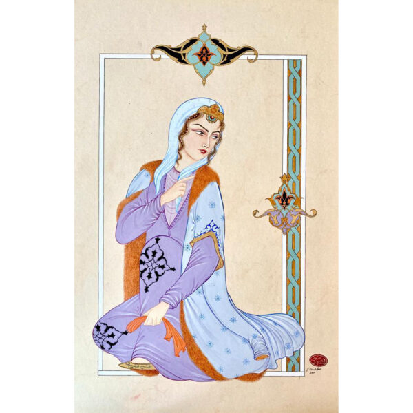Hand Painted Persian Lady Miniature Art