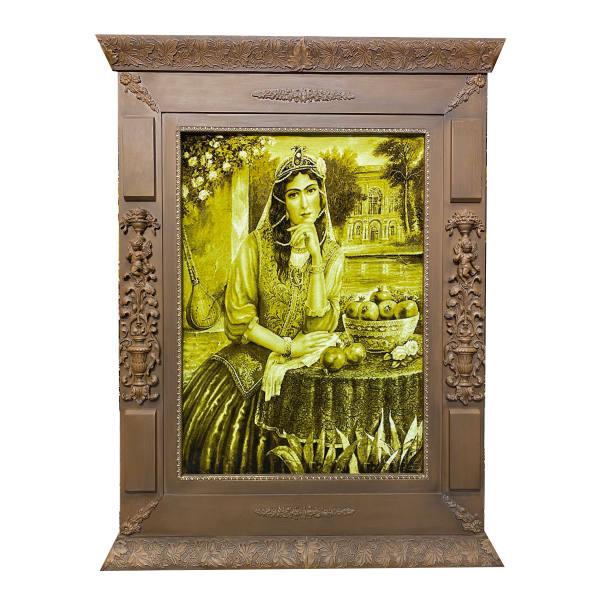 Persian Handmade Tableau Rug Model Qajar Girl