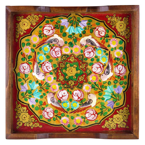 Persian Traditional Wooden Tray - Birds & Flowers