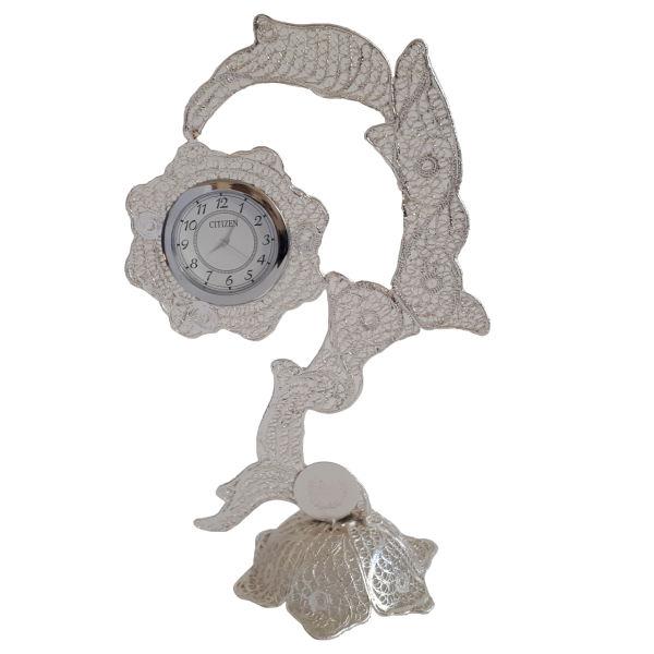 Iranian MalilehKari Silver Clock Model Termeh