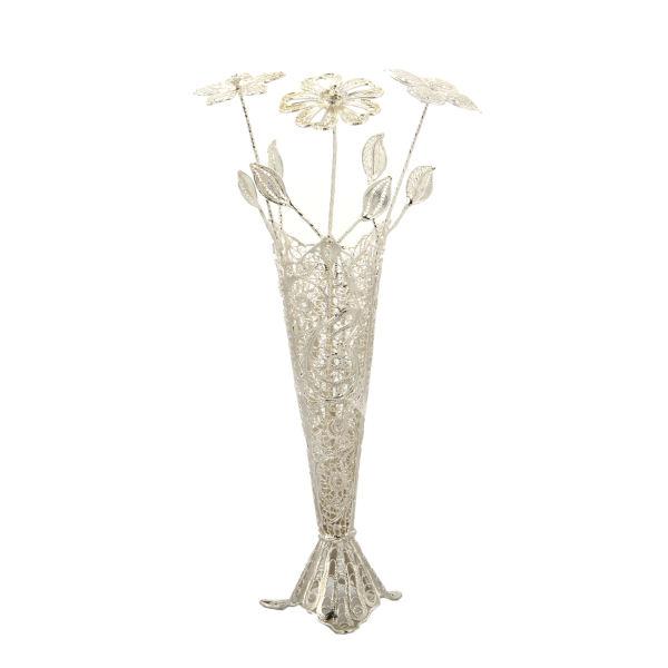 Iranian Set Of MalilehKari Silver Flowers & Pot