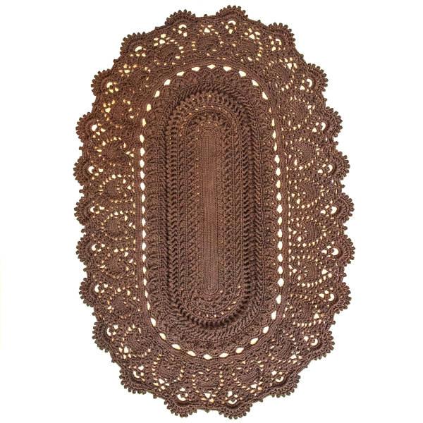 Persian Brown Hand Knitting Rug - Oval