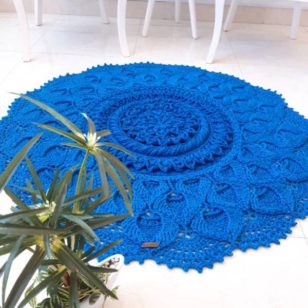 Round Blue Hand Knitting Rug Model Maral