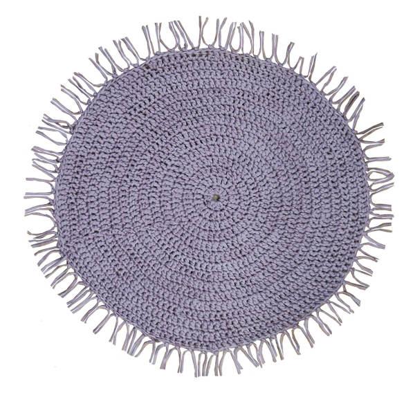 Round Crocheted Purple Hand Knitting Rug