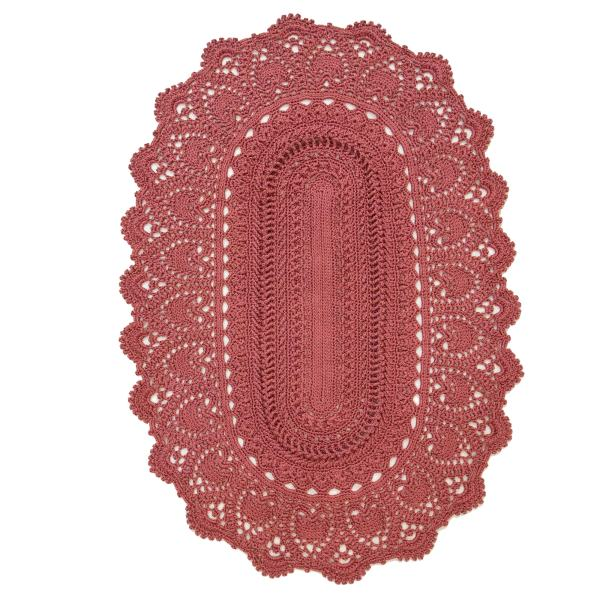 Persian Red Hand Knit Rug - Oval