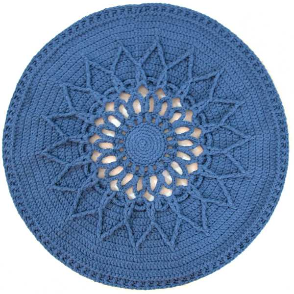 Round Hand Knitted Rug Model Sun