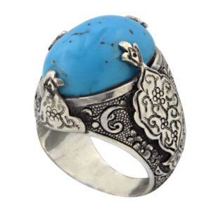 Handmade Silver Men's Ring Kerman Turquoise