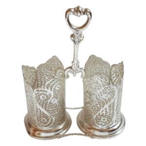 Persian Filigree Silver Spoon Holder Glass Design