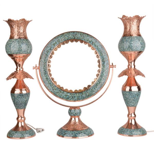 Persian Firuzehkubi Cooper Mirror & candlestick