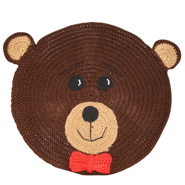 Round Brown Hand Knitting Rug Model Bear