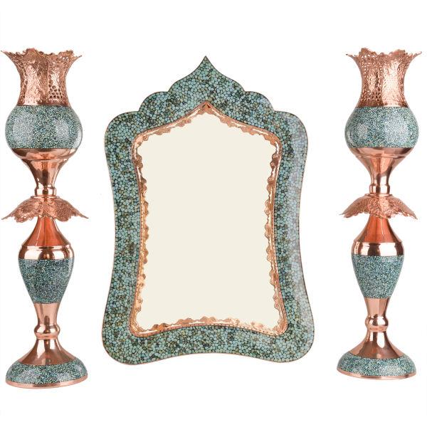 Set Of 3 Firuzehkubi Cooper Mirror & candlestick