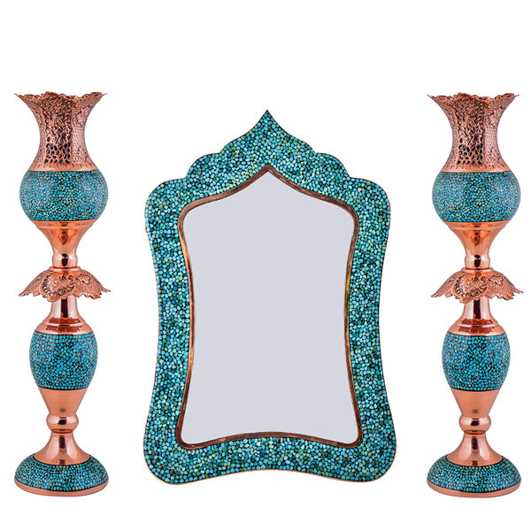 Turquoise Inlay Copper Mirror & Candlestick