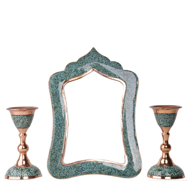 Inlaid Turquoise Copper Mirror & Candlestick