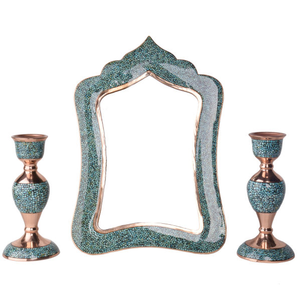 Inlaid Turquoise Persian Copper Mirror & Candlestick