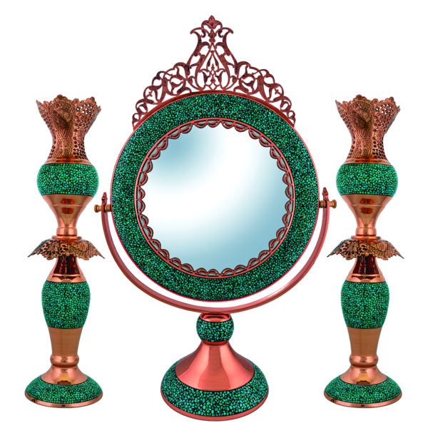 Copper Mirror & Candlestick Inlaid Turquoise