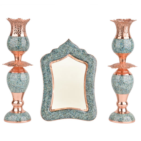 Inlaid Turquoise Iranian Copper Mirror & Candlestick