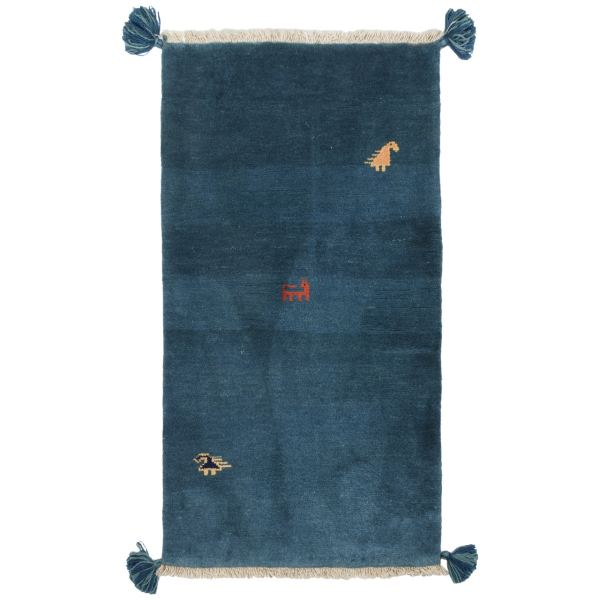 Handwoven Blue Iranian Gabbeh Runner Rug