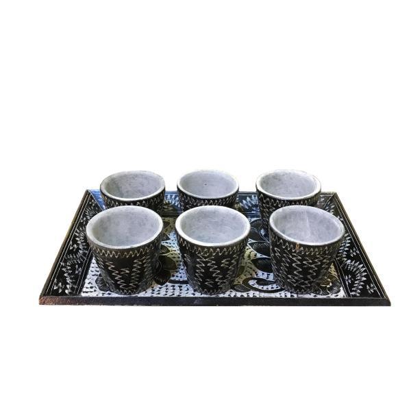 Stone Coffee Cups & Tray Set Model Tooran