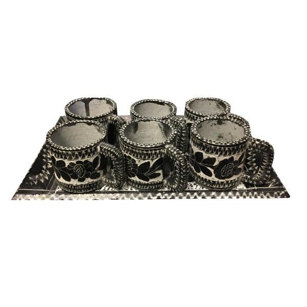 Stone Coffee Cups & Tray Set Model Golsang