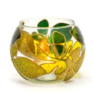 Crystal Candlesticks Holder Green Design (3x)