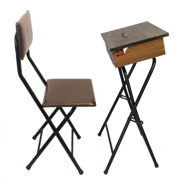 Foldable Brown Muslim Salah Chair with Table