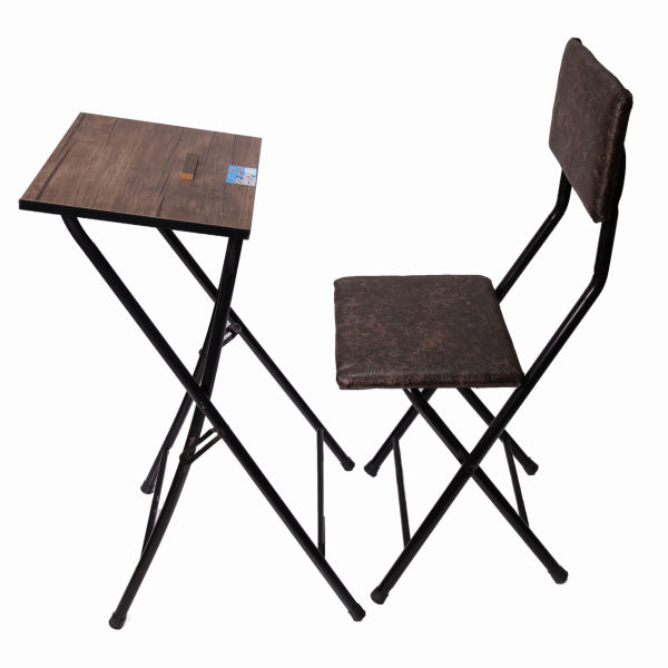 Foldable Dark Brown Muslim Namaz Chair with Table