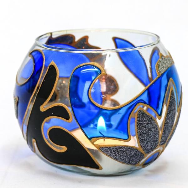 Iranian Crystal Candlesticks Holder Shiny Navy Blue (3x)